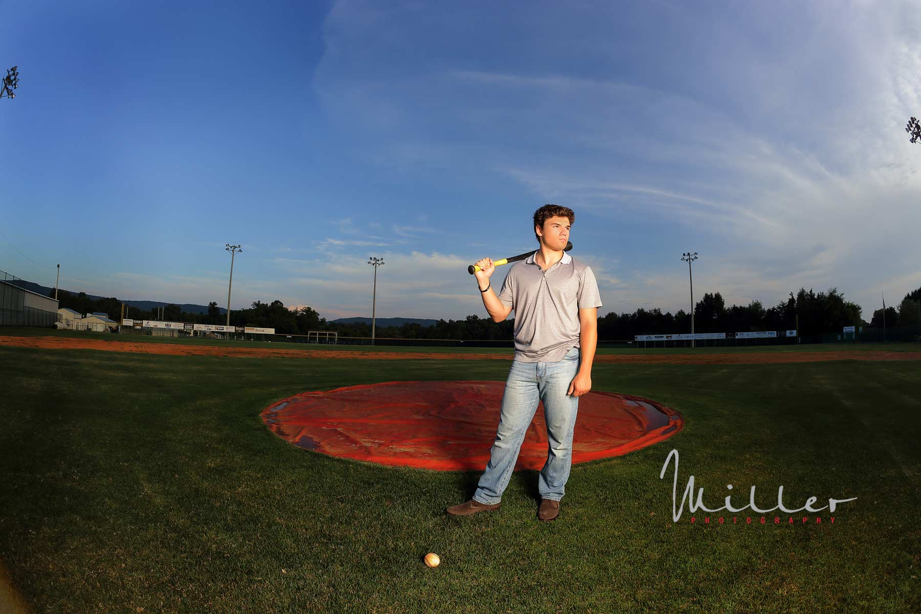 Casual Senior Portrait of baseball player