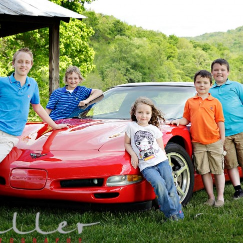 Family Portrait, Miller Photography Family Portraits, Middle TN Photographer, Kids on the Corvette